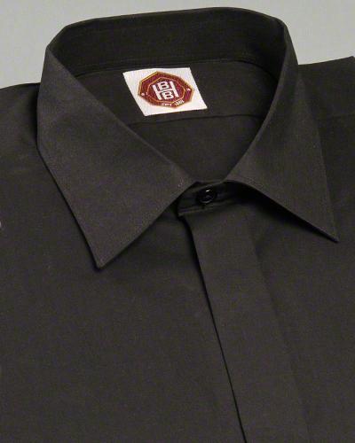 ea71607777 100% Cotton Black Civil Clergy Shirt   Normal Collar Shirt with long ...