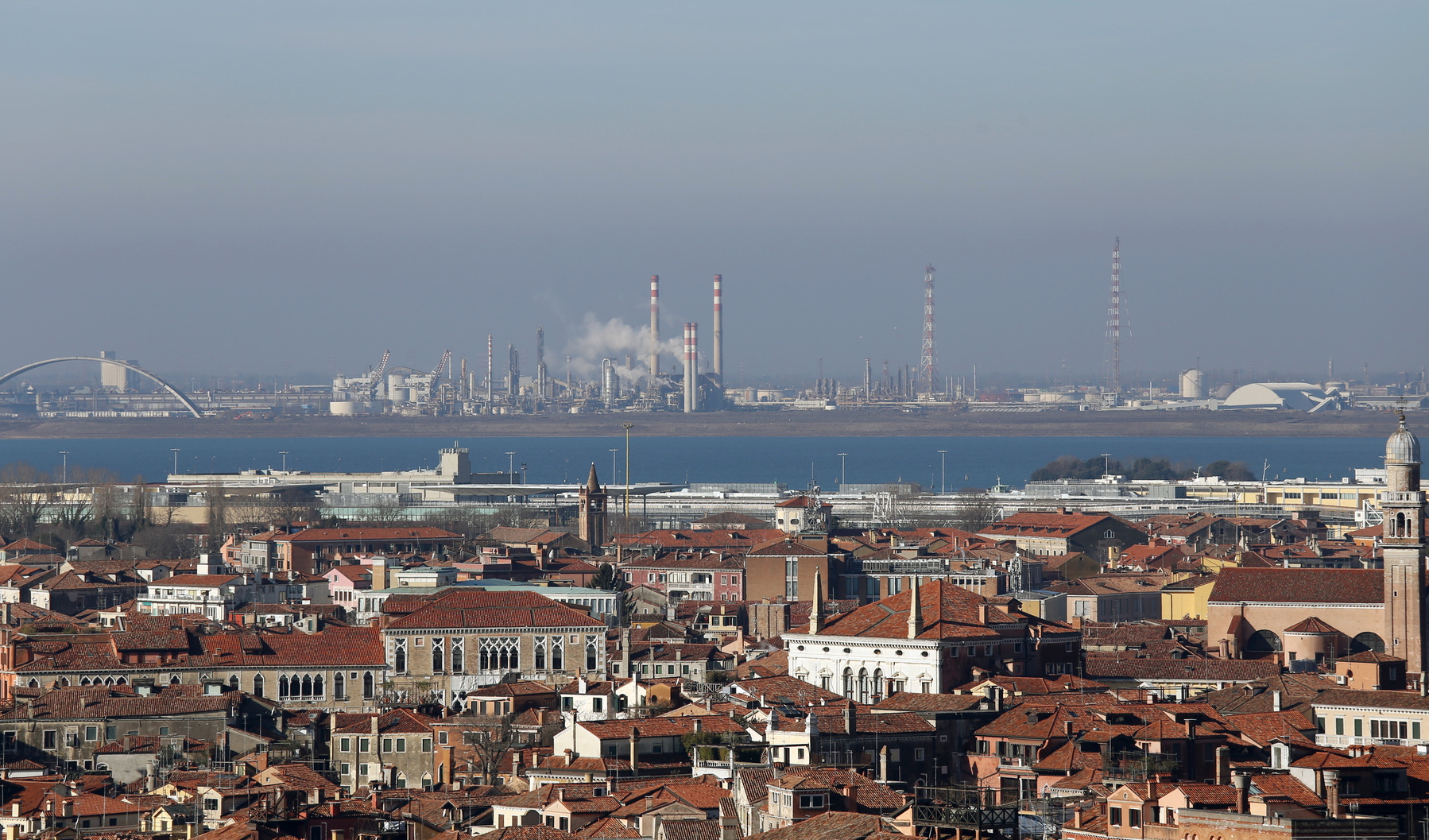 smokestacks and factories polluting with smoke